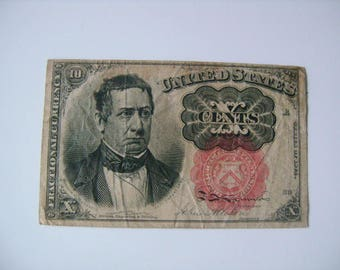 5th Issue Series of 1874 10 Cents Note United States Fractional Paper Currency Money Old Banknote Red Seal William M. Meredith