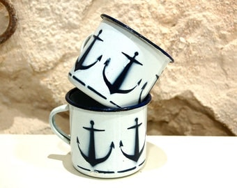 2 enamelled metal cups with anchor