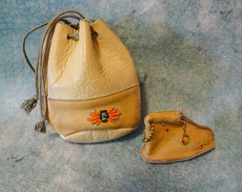 Vintage Native American Beaded Deerskin Leather Souvenir Pouch Bag with Moccasin Coin purse