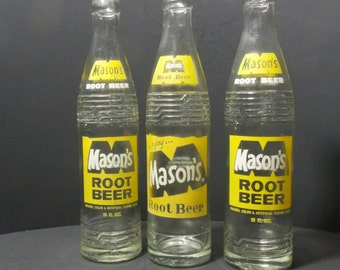 Soda bottles  Mason's Root beer Bottles Soda Pop bottles vintage soda bottles  Circa 1968-70