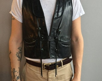 SALE 60s Black Leather Motorcycle Vest with Silver and Turquoise Details.