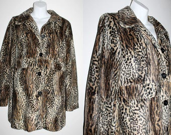VINTAGE 90s Glam Goth Rock Heavy Metal style Leopard Animal Print Faux fur Jacket Trench Coat