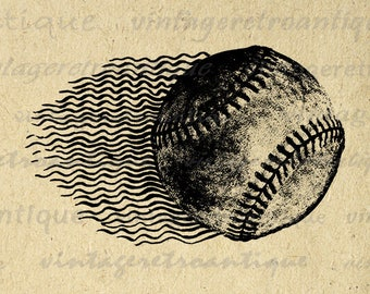 Printable Digital Baseball Download Flying Baseball Image Sports Baseball Graphic for Transfers Pillows Tea Towels etc Print 300dpi No.4645