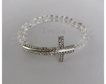 sideway cross bracelet. handmade bracelet. Women stretch bracelet. women bracelet. elastic bracelet. stretch bracelet. sideways cross