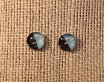 8mm Glass LightBlue&Black Stud Earrings