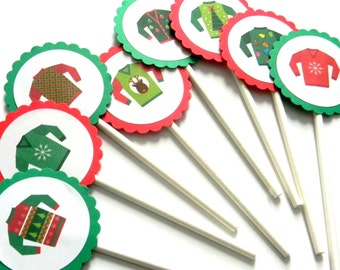 12 Ugly Sweater Cupcake Toppers, Ugly Sweater Party, Cake Toppers, Christmas Party, Christmas Toppers, Sweater Toppers, Party Decor, Holiday