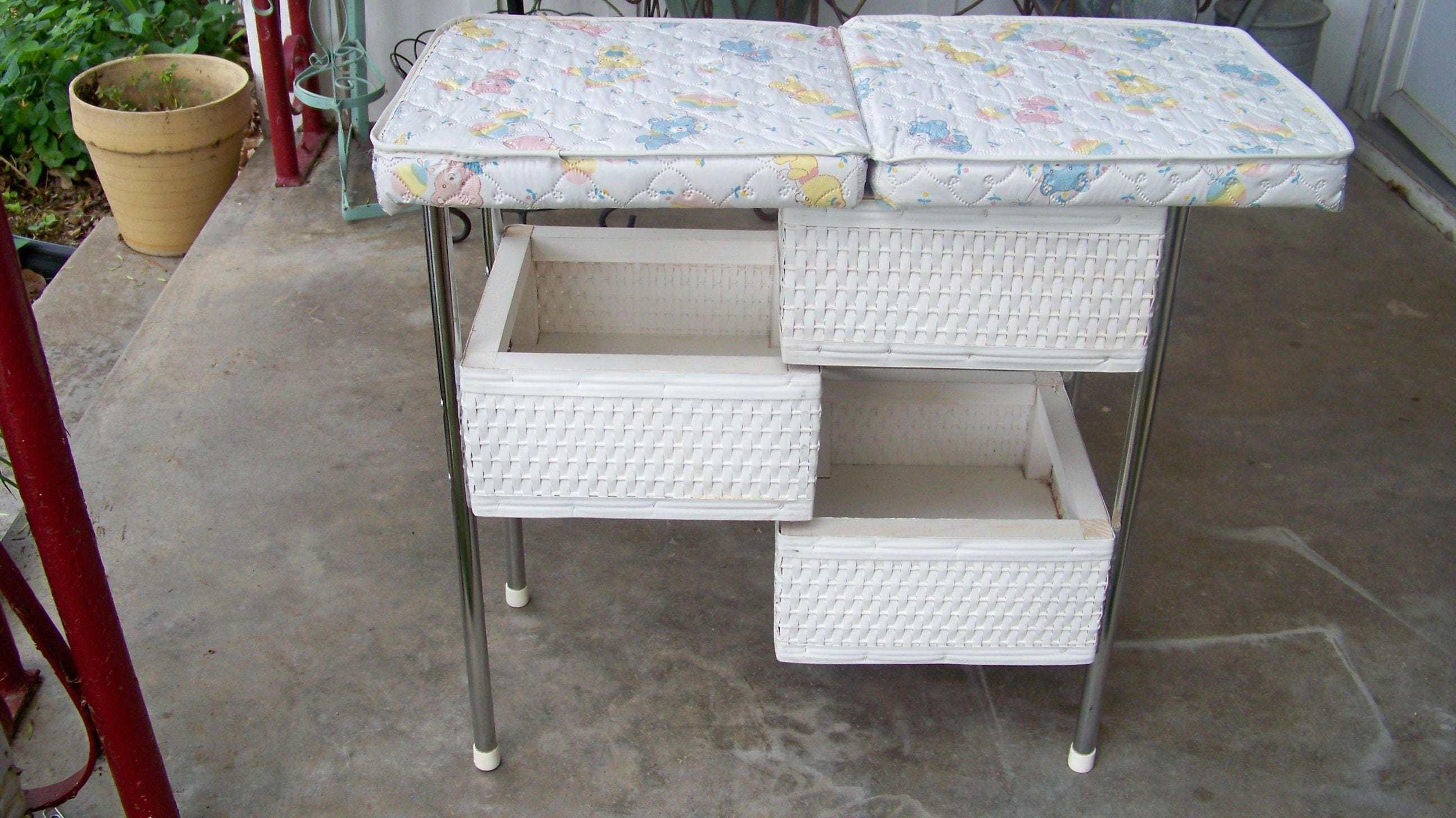 Delightful Description. Vintage White Wicker Doll Changing Table ...