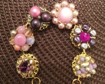 Beautiful Vintage Pink and Purple Earring Bracelet