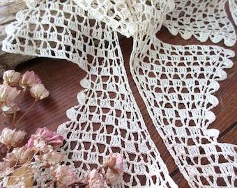 Vintage Hand Crochet Lace EdgingTrim, Cotton Threads,Crochet Trim- 5 yards 10''