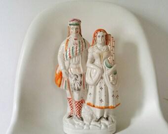 Large Antique Highland Staffordshire Figure Couple