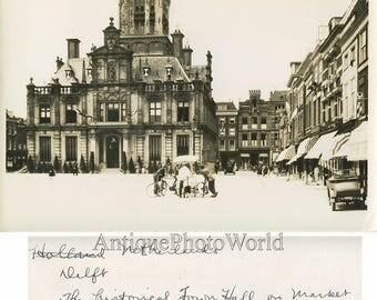 Delft Holland city square view antique photo