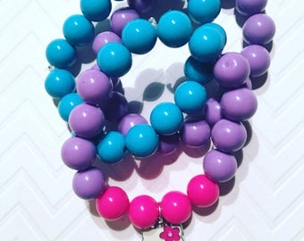 Little Girl's Stackable Pink,Purple And Teal Bracelets, Girl's Stackable jewelry, Stackable Bracelets For Girls, Girl's Pendant  Bracelets,