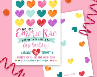 Heart Birthday Party Invitation - PRINTED INVITATIONS Girl Valentine's Day party watercolor heart love party