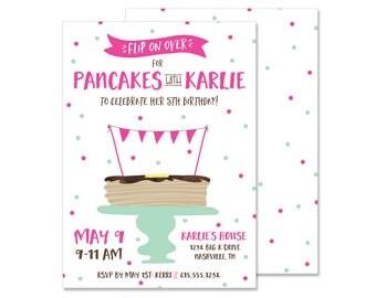 Pancake Party Birthday Invitation - Digital File JPG PDF Print Your Own