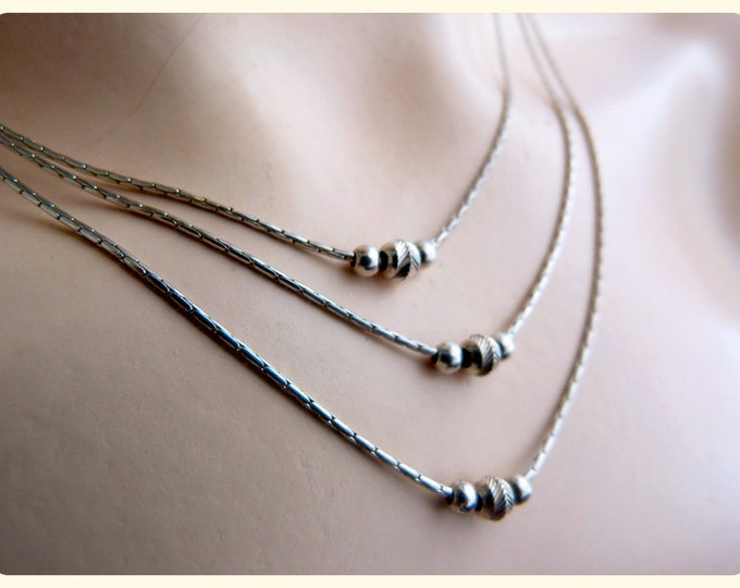 STERLING SILVER tree rows NECKLACE