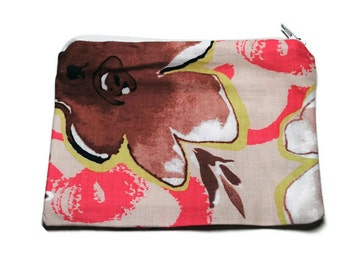 Reusable Snack Bag Zipper Pink Brown Green Large Floral Flowers