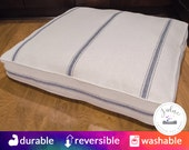 Rectangle Feedsack Dog Bed with Insert - Red Stripe, Blue Stripe, Grain Sack