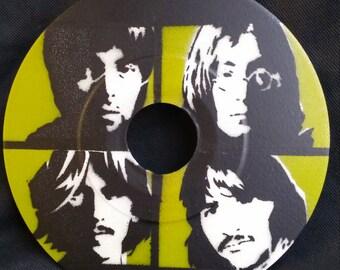 """Beatles Stencil Art on a 7"""" Vinyl Record"""