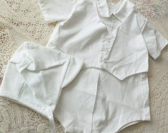 Vintage Old Stock Boy's Christening Outfit, Romper, All White Poly/Cotton Blend with Cap.Machine Washable, Tumble Dry