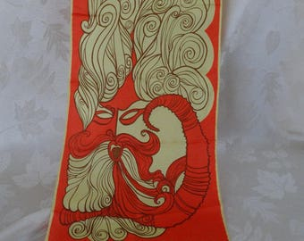 Sant Angelo river god Archelous silk oblong scarf hand rolled hem orange and yellow - psychedelic pop art 1960s scarf - hydrological fashion