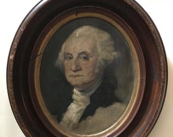 Antique pair oil painting on canvas of President George Washington Martha Washington signed American Laura Yates Burnett  1875 - 1935