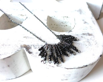 Black Spinel Necklace , Oxidized Sterling Silver Necklace .
