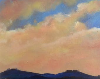 Tuscan twilight - between night and day - original framed oil painting by Sarah Gill. Italian landscape
