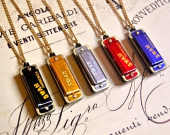 Vintage inspired harmonica long necklace, harmonica necklace, musician necklace, music necklace, music lover gift