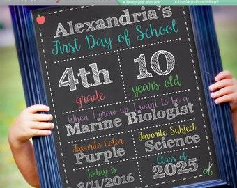 ORIGINAL Editable First Day of School Chalkboard Sign    Instant Download Digital File    Kindergarten, Preschool    Reusable! 8x10 or 16x20
