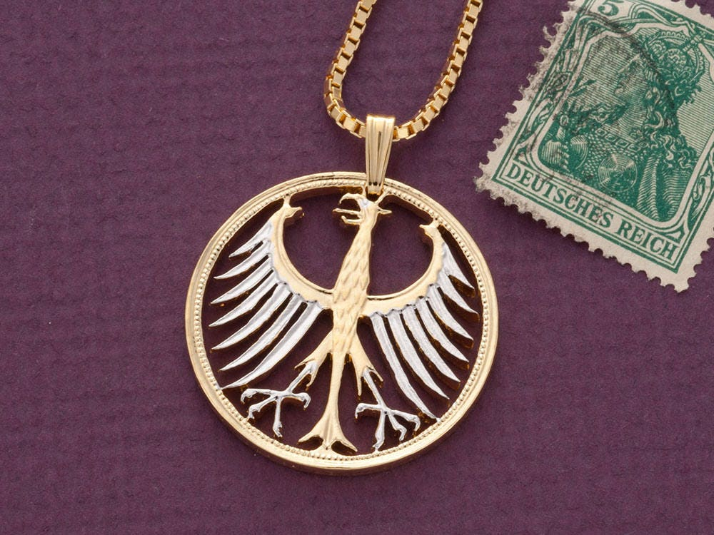 German Eagle Pendant and Necklace German 5 Mark Eagle coin