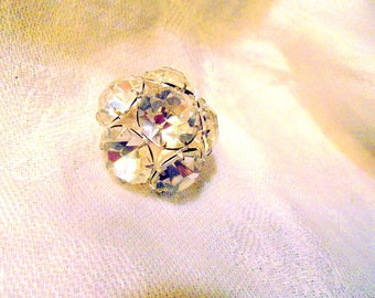 Rhinestone Buttons Set of 3 Vintage Rhinestone Buttons