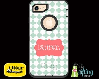 Monogrammed OtterBox Defender Case iPhone 7/7 Plus, 6/6S & 6/6S Plus, iPhone 5/5S/SE/5C, iPod Touch 5/6, Galaxy S7/S6/S5/S4/Note 5/4, Clover