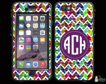 Monogrammed Lifeproof® Phone Case Decal Skin, iPhone 7/7 Plus, 6/6S and 6/6S Plus, 5/5S/SE/5C, Galaxy S7/S6/S5/S4/S3, Kaleidoscope Chevron