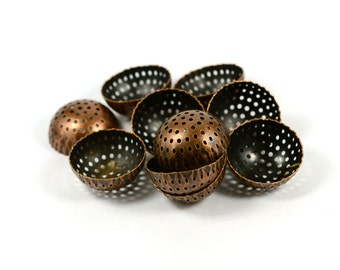 10 Pieces Copper Plated 25 mm Perforated Deep Findings