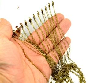 "12 Pcs. 22"" (56 cm)   Antique Brass 1.5x2 mm Chain Link Necklace Finished"