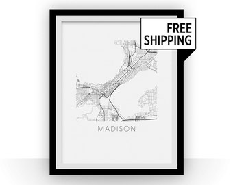 Madison Map Black and White Print - wisconsin Black and White Map Print