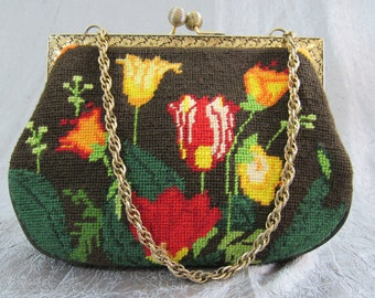 1960s Unusual Needlepoint Tapestry Handbag with Vivid Spring Flowers on Chocolate Brown Background