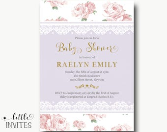 Digital invitation whatsapp invitation baptism and birthday baby shower invitation girlpink lavender gold baby shower invitation lacefloral stopboris Image collections