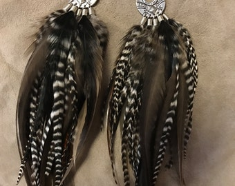 Medium Length Grizzly Gray Feather Earrings