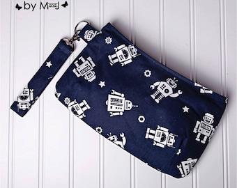Wristlet, purse, bag, pouch, Coraline, Robot