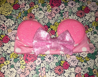 Adorable Light Pink Polka Dot Baby Minnie Mouse Ears