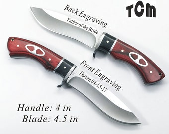Birthday Gift- Personalized Hunting Knife, Engraved Knife, Custom Knife with Inlay Rosewood Handle-Free Engraving-KC69