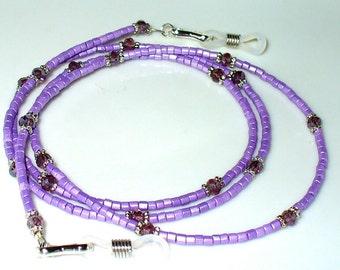 Necklace, bracelet silver lilac 75 cm (128)