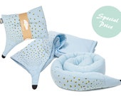 Organic Baby bed bumper , Baby warm blanket and pillow set , Nursery bedding , Unique Newborn Gift , Boy room décor , Bed bumper pillow ,