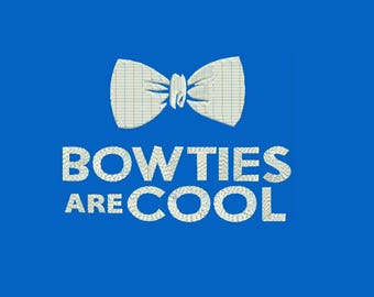 "Doctor Who - ""Bow Ties are Cool"" Machine Embroidery Designs - Instant Download Filled Stitches Design 185"