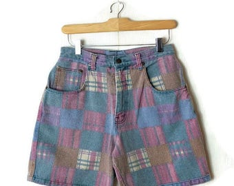Vintage Faded Color blocked Denim Shorts from 1980's/W26*
