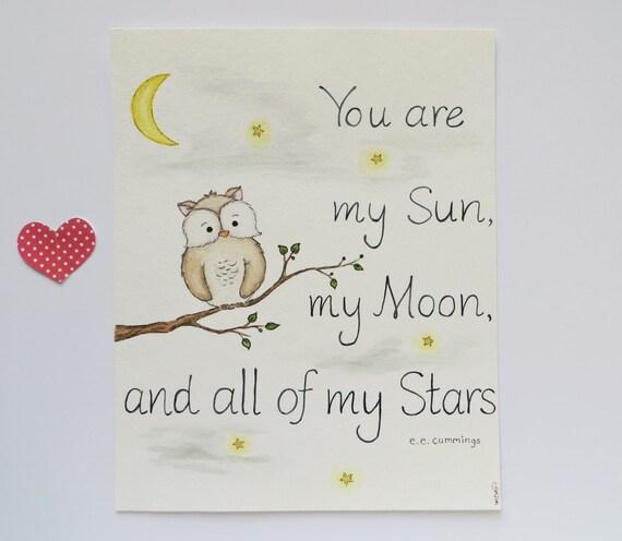 nursery owl original painting sun moon stars quote print. Black Bedroom Furniture Sets. Home Design Ideas
