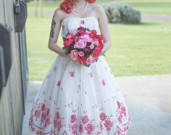 50's Prom/Party Dress / Rockabilly Wedding / Bettie Draper / Flocked / X Small