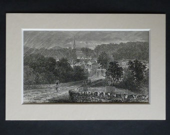 1880s Antique Enniskerry Print, County Wicklow Decor, Available Framed, Irish Art, Ireland Village Gift Landscape Picture Engraving Wall Art