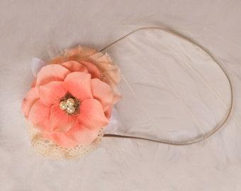 Peach Ivory Flower headband, Peach Flower baby headband ,cream peach headband